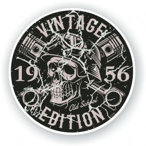 Distressed Aged Vintage Edition Year Dated 1956 Biker Skull Roundel Vinyl Car Sticker Decal 87x87mm
